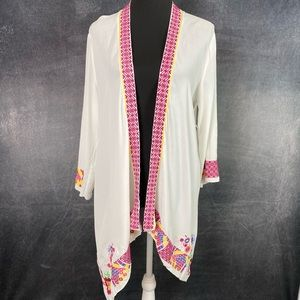 Peach Love Embroidered Kimono Off White NWT M